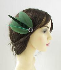 Khaki Green Black Silver Feather Fascinator Hair Clip Races Vintage 1920s 126