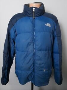 THE NORTH FACE BLUE 550 DOWN NUPTSE PUFFER JACKET MENS L