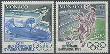 1992 MONACO N°1811/1812** JEUX OLYMPIQUES, BARCELONA OLYMPICS Sc#1802-1803 MNH
