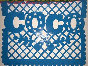 Coco Papel Picado Mexican 🇲🇽 Banner Garland 10 Panel 16 in X 13 in 10 panels