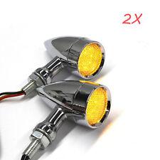 2X Bullet LED Turn Signal Amber Light Indicator Blinker For Harley-Davidson 10MM