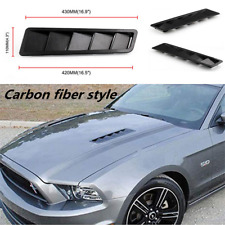 "2pcs Carbon fiber ABS Plastic 16.7x4.5"" Universal Car Hood Vents Louver Panel"