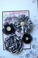 HANDMADE 5 Flower&Butterfly BLACK WHITE LaceOrganzaCotton 35-70mm NjoyfullCrafts