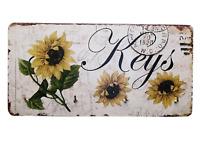 Shabby Chic Sunflowers Keys Key Rack Holder 4 Metal Hooks Wooden 19.5cm SG1736