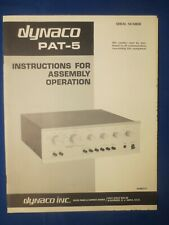 Dynaco Pat-5 Assembly Instructions Operation Factory Original Real Thing