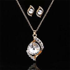 Jewelry Sets Chain Crystal Rhinestone Pendant Chain Earrings Ear stud Necklace