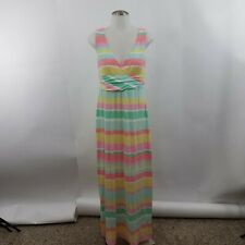 Lilly Pulitzer Striped Sleeveless Long Maxi Dress Faux Wrap S Pastel Pink Yellow