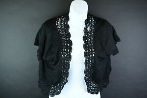 Bandolino Womens Black 52% Ramie 48% Rayon Short Sleeve Cardigan Size XL