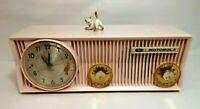 Vintage Pink Motorola 57CS Tube AM Radio w Telechron Clock In Working Condition