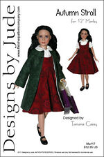 """Autumn Stroll Doll Clothes Sewing Pattern 12"""" Marley & 14"""" Patience Tonner"""