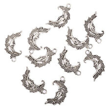 cresent moon face filigree Tibetan Silver Bead charms Pendants 26*15mm 10pcs