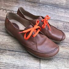 SIZE UK 4.5 D CLARKS FELICIA VALE TAN LEATHER LACE UP FLAT CASUAL SHOES