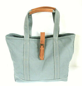 NEW - LL Bean Boat & Tote Bag with Leather Handles & Closure