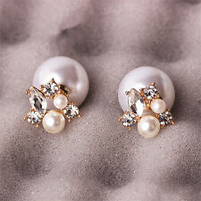 Fashion Women Gold Plated Double Sided Crystal Big Pearl Ear Stud Earrings Gift