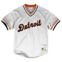 Mitchell & Ness White MLB Detroit Tigers Mesh V-Neck Jersey