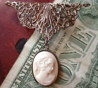 ANTIQUE 20s FILIGREE SILVER PLATE FILIGREE FINE DETAIL CAMEO BROOCH PIN