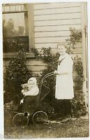 Baby Girl & Teddy Bear in Vintage Baby Carriage, Stanton, Vintage  Postcard