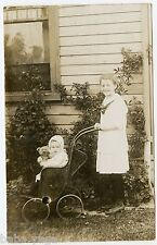 Baby Girl & Teddy Bear in Vintage Baby Carriage, Stanton, Vintage Postcard