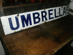 "UMBRELLA'S  ANTIQUE PORCELAIN SIGN Store Department Sign 42"" Long 5 5/8"" Wide"