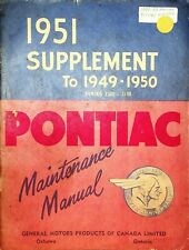 1951 Pontiac Series 2500 & 2700 Supplement Maintenance Manual GM General Motors