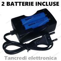 Caricabatterie + 2 batterie 18650 2600mAh 3,7V Litio Li-Ion Ricarica Svapo E-cig