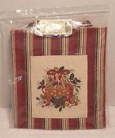 NIP Retired Longaberger Canvas Fabric 2005 Holiday Stripe Small Tote Bag/Purse
