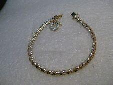"Gold over Sterling Tennis Bracelet, Heart Charm, diamond chips, 7"", 4.2mm wide"