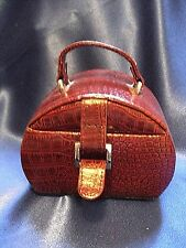 Euro Classics Red Leather Mini Jewelry Travel Case Organizer Loose Pearls Cages