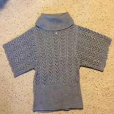 377b2d05598 Dressbarn Size S Grey Knit Sweater Short Sleeve Acrylic Wool Blend Turtle  Neck