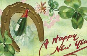 CE-034 A Happy New Year Four Leaf Clover Raphael Tuck divided Back Postcard