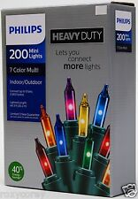 Philips Heavy Duty 200 Multi Mini Lights Green Wire Indoor/Outdoor NIB
