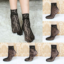Sexy Women Lady Soft Black Lace Ruffle Fishnet Mesh Short Ankle Socks Stockings