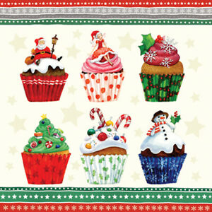 Christmas 20 Paper Lunch Napkins CHRISTMAS CUPCAKES Colorful Muffins Santa Elf