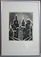 CARMEN LEAN '65__'Spires'__B/W Etching__Mid Cent Modern Image__ExC__SHIPS FREE