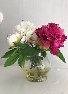 $189 White Pink PEONY Silk Flower Tabletop Arrangement Acrylic Water Glass Vase