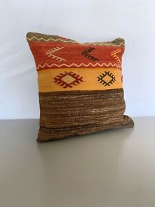 Turkish handmade decorative square Pillow Home design vintage rustic 16''x16''