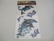 Fun Tattoos For Girls Pairs Of Dolphins 1 Pair Black, 1 Pair Black/Blue New