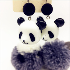 Hot 925 Sterling silver Ear hook ceramics panda head design lovely stud Earrings