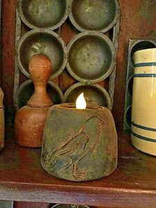 Primitive/Colonial Scented Blackened Beeswax Crow/Raven Flicker Candle Country