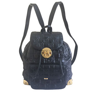 METROCITY BLACK QUILTED LEATHER BACKPACK