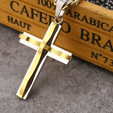 Men Women's Stainless Steel Cross Pendant Black Gold Silver (Pendant Only)
