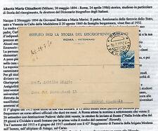 Cartolina autografo Alberto Maria Ghisalberti Istituto storia del Risorgimento