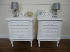 French Baroque Three Drawer Bedside Cabinets In White - Pair Of Bedside Tables