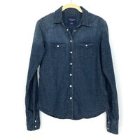 American Eagle Women Size Small Shirt Blue Chambray Western Pearl Snap Top Denim