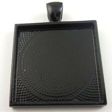 7pcs Black Alloy Square Cameo Setting Base Tray Pendant Charms Jewelry 09079