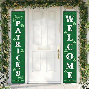 Welcome St Patricks Day Banner Outdoor Saint Sign Decor for Wall Door Office
