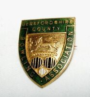 VINTAGE ENAMEL HEREFORDSHIRE COUNTY  BOWLING ASSOCIATION BROOCH / BADGE / PIN