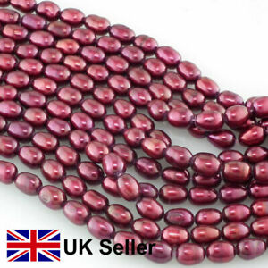 4.5-5mm freshwater rice pearl loose string, Burgundy Red, by Pearls Direct