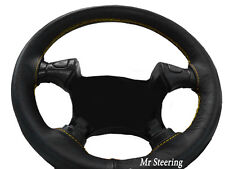 FITS MITSUBISHI L200 BLACK REAL LEATHER STEERING WHEEL COVER 96-05 YELLOW STITCH