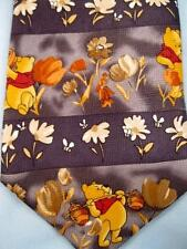 Mens Necktie Winnie The Pooh Eating Honey With Flowers Floral Pattern Disney (O)